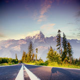 Fantastic views of the asphalt road in the mountains. Fantastic views of the asphalt road in the mountains Stock Photography