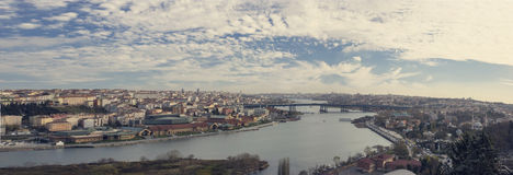 Fantastic views of the city and the hill on a sunny day from a viewing point. Istanbul, Turkey. Stock Photography