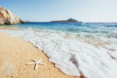 Fantastic views of the coast with yellow sand and sea star and blue water. Stock Images