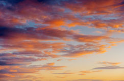 Fantastic views of the pink sky at sunset with clouds Stock Photos