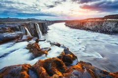 Fantastic views of Selfoss waterfall in the national park Vatnaj. Okull, Iceland Royalty Free Stock Image