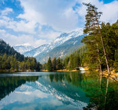 Fantastic views of the tranquil lake with amazing reflection. Royalty Free Stock Images