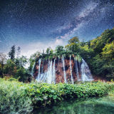 Fantastic views of waterfalls and turquoise water. Plitvice Lakes National Park. Starry sky night. fantastic milky way. Croatia, Europe. Starry sky night stock photography