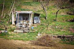 Fantastic villa in the countryside. Craft cabin used to put garden tools, Tuscany, Italy Royalty Free Stock Image