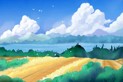 Fantastic Watercolor Style Painting: Beautiful Countryside Royalty Free Stock Photography