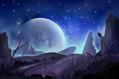 Fantastic Watercolor Style Painting: Moon Mountain Royalty Free Stock Images