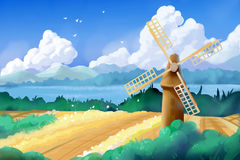 Fantastic Watercolor Style Painting: Wheat Fields and Windmill. Video Game`s Digital CG Artwork, Concept Illustration, Realistic Cartoon Style Background Stock Photo