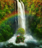 Fantastic waterfall. Photomanipulation of a  colorful waterfall in a tropical place