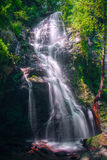 Fantastic waterfall illuminated by a springtime light Royalty Free Stock Images