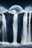 Fantastic waterfalls. Photomanipulation of a night scene with beautiful waterfalls stock photo