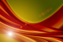 Fantastic wave background design with lights. In green and orange Stock Photo