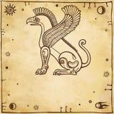 Fantastic winged griffon. Profile view. royalty free illustration