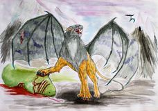 Fantastic winged lion killed the green serpent. Non-existent predatory animals drawing watercolor. royalty free illustration
