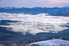 Ski resort Dragobrat in winter. Fantastic winter landscape. Carpathian mountains, Ukraine Stock Photos