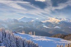 Fantastic winter landscape. Dramatic overcast sky. Royalty Free Stock Photo