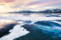 Fantastic winter landscape with frozen lake Stock Photography