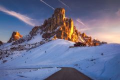 Fantastic winter landscape, Passo Giau with famous Ra Gusela. Nuvolau peaks in background, Dolomites, Italy, Europe stock photos