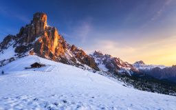 Fantastic winter landscape, Passo Giau with famous Ra Gusela, Nu. Volau peaks in background, Dolomites, Italy, Europe stock image