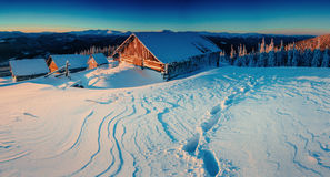 Fantastic winter landscape, the steps that lead to the cabin. Royalty Free Stock Image