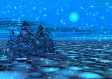 Fantastic winter moonlight. And snow. 3d illustration Stock Photography