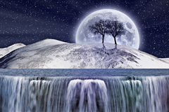 Fantastic winter moonlight Stock Image