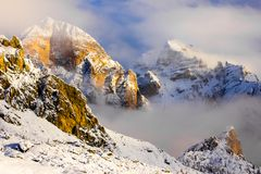 Free Fantastic Winter Mountains Landscape Near Passo Giau, Dolomites Stock Image - 118230851
