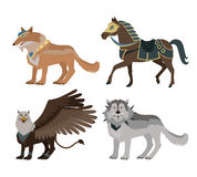 Fantastic Wolf Vector Illustration in Flat Design. Stock Images