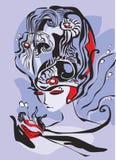 Fantastic woman. Fantastic portrait of a woman stock illustration
