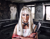 Fantastic woman in style of doll killer Royalty Free Stock Photo