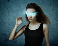 Fantastic Woman Using Virtual Glasses Stock Photography