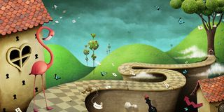 Fantastic Wonderland background. Conceptual fantasy background  for illustration or poster or photo wallpaper  with  story Wonderland . Computer graphics Royalty Free Stock Photography