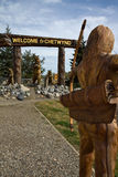 Fantastic wood carvings welcome the visitor to Chetwynd, BC Stock Image