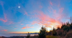 Fantastical sunset scenery over foothills. royalty free stock photography