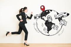 Fantasticare della donna fatto funzionare alla fuga di viaggio da lavoro illustrazione di stock