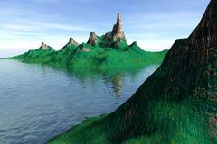 Fantastisch eiland bij oceaan Stock Afbeelding