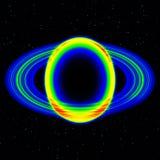 Fantastisch infrarood aftasten van planeet met stoffige ring in ver heelal, samenvatting royalty-vrije stock afbeelding