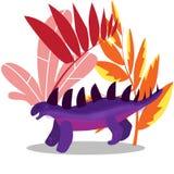 Fantastisch landschap met fantastische voorhistorische dieren, uitgestorven dinosaurussen, vectorillustratie stock illustratie