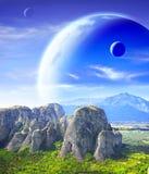 Fantastisch landschap met planeet stock afbeeldingen