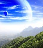 Fantastisch landschap met planeet stock foto