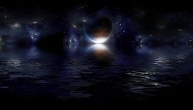 Fantastisch nachtlandschap royalty-vrije illustratie