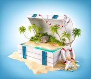 Fantastisch tropisch eiland met bungalow royalty-vrije illustratie