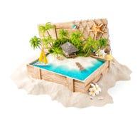 Fantastisch tropisch eiland met bungalow vector illustratie