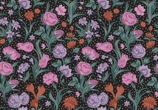 Fantastisch vector naadloos uitstekend bloemenpatroon. Stock Afbeeldingen