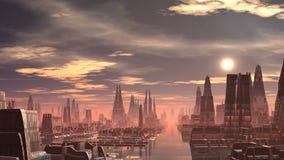 Fantastisch (vreemd) stad en UFO royalty-vrije illustratie