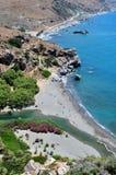 Fantastische Ansicht des Preveli Strandes Stockfotos