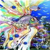 Fantastische Fische über Unterwasserstadt Lizenzfreies Stockfoto