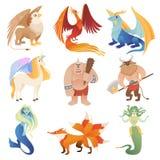 Fantastische Geschöpfe Hybride Tiere Phoenix-Drachen, die Löwe minotaur Zentaurvektor-Karikaturbilder fliegen vektor abbildung