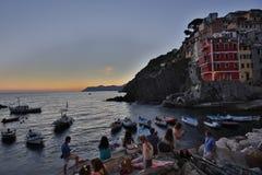 Fantastische glasige Bucht von Riomaggiore Stockbild