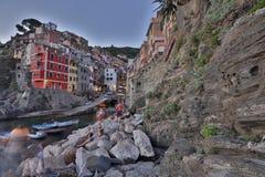 Fantastische glasige Bucht von Riomaggiore Stockfoto