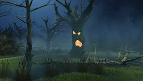 Fantastische griezelige bomen op nachtmoeras stock illustratie